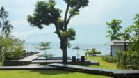 view of the gardens and swimming pool area at the Plub Pla Retreat on Koh mak
